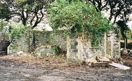Trackside frontage with shrub and slate edging in 1999